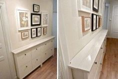 Ikea Hemnes double shoe cabinet turns into hall storage. Ikea Hemnes Shoe Cabinet, Hallway Cabinet, Hallway Sideboard, Narrow Cabinet, Small Hallways, Small Entryways, Storage Cabinets, Shoe Cabinets, Home Decor Accessories