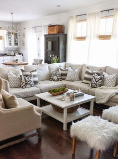 ideas for how to style and decorate a sectional or sofa with toss cushions