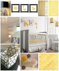 Yellow Grey Modern Nursery...orange instead of yellow.