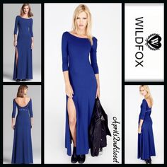 """WILDFOX Maxi Dress Eat Your Heart Out RETAIL PRICE: $148  NEW WITH TAGS   WILDFOX Maxi Dress Eat Your Heart Out   * A fit-and-flare style * Incredibly soft & comfy stretch to fit fabric  * Crew neckline & 3/4 long sleeves.  * Back scoop & printed text detail; A purposely subtly distressed/'washed' look * About long 59"""" long.  Fabric: 46% Modal, 46% Cotton, & 6% spandex; Made in the USA.  Color: City Night Blue  No Trades ✅ Offers Considered*✅ Bundle Discounts ✅ *Please use the blue 'offer'…"""