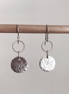 Hammered Sterling Silver Drop Disc & Circle Earrings/Gift for Her/Coin Earrings/Moon Earrings by NoraCarterJewellery on Etsy
