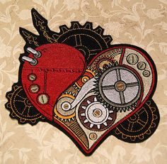 SteamPunk Gears Clockwork Heart Iron On Embroidery door MTthreadz... for either my white rabbit or my friends queen of hearts costume ^^