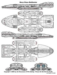 Battlestar Galactica Ship Blueprints 1978