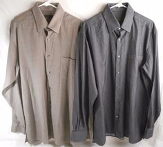 ERMENEGILDO ZEGNA Mens Shirt Long Sleeve Size XL Cotton Italy Lot of 2 #ErmenegildoZegna #ButtonFront