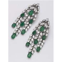 PAIR OF EMERALD AND DIAMOND PENDANT-EARCLIPS. The flexible cascades of foliate design, set with 14 pear-shaped emeralds weighing approximately 8.00 carats, 98 round diamonds weighing approximately 14.00 carats and 168 single-cut diamonds weighing approximately 3.30 carats, mounted in platinum.
