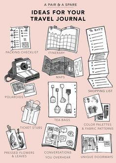 Creative ideas to use as prompts when writing in your travel journal. Guide to Travel Journal. Travel Journal Pages, Bullet Journal Travel, Travel Journals, Bullet Journals, Roadtrip Journal, Art Journals, Scrapbook Journal, Travel Scrapbook, Ideas For Scrapbook