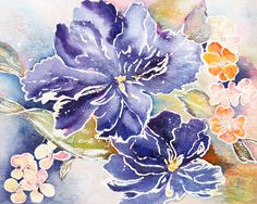 Sparkling blues create a dramatic floral portrait in by lizdezign, $20.00