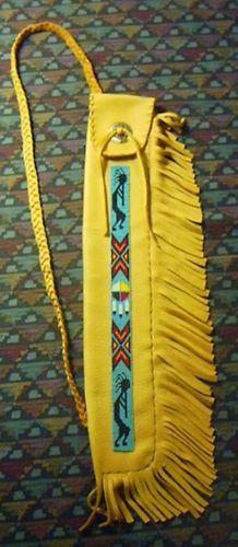 Native American Beaded Flute OR Pipe BAG Buckskin 2   eBay