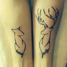 His and hers matching tattoos. Buck and doe