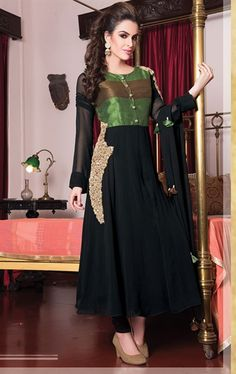 Picture of Exquisite Black and Green Ready Made Salwar Kameez