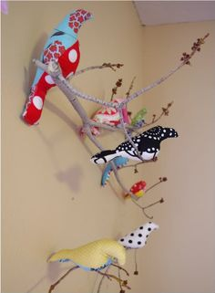 Great fabric bird tutorial ... I've wanted to do this since I saw them in a local fabric store.