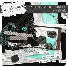Passion And Paisley Page Kit Plus  - 4 designers have come together to create different kits with the same color scheme that all go together really well. I'm going to use something from all 4 for my #digitalprojectlife spreads.