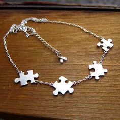 Puzzle Necklace For Autism - Handmade Sterling Silver