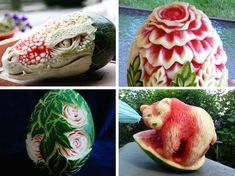 Artists across the globe have utilized watermelons as an unexpected canvas for their imaginative creations—they look too skillfully crafted to eat!