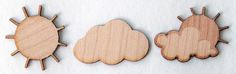 """Hermosos """"wood veneers"""" con tema del tiempo: nubes y soles. Set incluye 6 de cada diseño."""