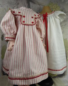 Original antique white batiste open-back pinafore with striped cotton dress from Stairwaytothepast on Ruby Lane