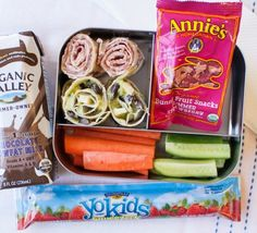 A mom on the Annie's Homegrown team SWEARS by these easy tortilla roll-ups for her little ones. Include some fresh cucumber and carrot strips, Annie's fruit snacks, Organic Valley chocolate milk, and YoKids Squeezers in strawberry.