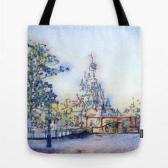 Watercolor Tote Bag Disneyland Paris Tote Fantasy Tote by MGMart