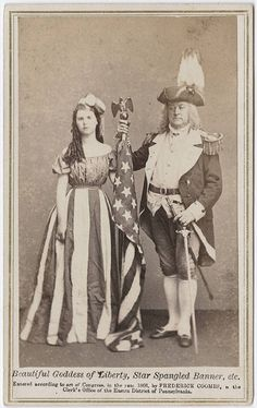 Beautiful goddess of liberty, Star Spangled Banner, etc.  cdv by Coombs 1866.- looks like fancy dress ball material!