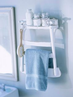 Bathroom Shelf. What it is: A repurposed unused chair turned into a useful wall-mounted towel rack and shelf.    How to make it: Remove the seat and legs of an old chair and mount it to the wall. Hang towels and other bathroom essentials. Could also be used outdoors for pool or spa towels.  Attach to fence or wall.