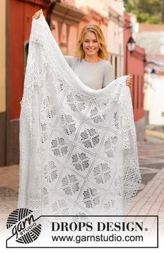 Ravelry: September Snowfall pattern by DROPS design Crochet Bedspread Pattern, Afghan Crochet Patterns, Crochet Afghans, Knitting Patterns, Crochet Square Blanket, Granny Square, Crochet Squares, Crochet Diagram, Filet Crochet