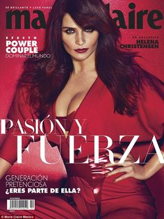 Lady in red: Supermodel Helena Christensen has graced the cover of the latest issue of Marie Claire Mexico, on sale February 2