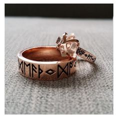 Rustic Mens Wedding Band Ring Nordic Runes Till Death Do We Part Old W ❤ liked on Polyvore featuring men's fashion, men's jewelry, men's rings, mens engagement rings, mens band rings, mens wedding rings, mens watches jewelry and mens diamond band wedding ring