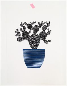 Large Cactus Lino Print by Amy Blackwell