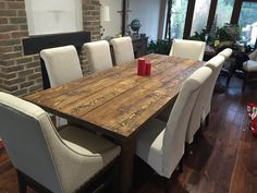 It's weird how your wants and decoration rates can change from home to home Solid Rustic Dining Room table finished in dark oak. handcrafted by new forest rustic furniture 8 Person Dining Table, Dining Table Online, Furniture Dining Table, Kitchen Furniture, Furniture Nyc, Furniture Stores, Furniture Market, Classic Furniture, Unique Furniture