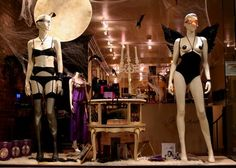 Maison Close lingerie in a Halloween window display at Honey Gifts in Brooklyn, New York.