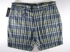 60d5fcb1250 NWT POLO Ralph Lauren Authentic India Madras Navy Plaid Flat Front Shorts   80