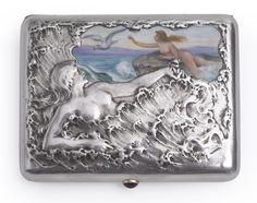 A Russian Silver and Pictorial Enamel Cigarette Case, Moscow, circa 1910.