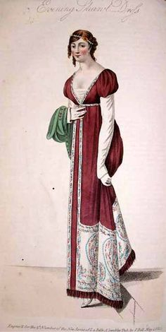 "May 1810  Evening Shawl Dress   ""a rich Paris-brown French silk shawl robe, with short full sleeves, made to sit very much off the shoulders; worn over a white satin body with long sleeves. Persian scarf of green silk; white satin shoes; and white kid gloves."" La Belle Assemblee"