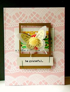 card here using April Add-On Kit - Moses Supposes. Flower from my stash, butterflies die cut from my Slice (Paper Reverie) and Martha Stewart punch.