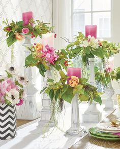So pretty and would just make a gorgeous centre for a dinner party, lusciousl floral and greenery candle rings. Decorate tall candles and let them drape. Wedding Arrangements, Wedding Centerpieces, Floral Arrangements, Wedding Decorations, Table Decorations, Spring Decorations, Halloween Decorations, Graduation Centerpiece, Quinceanera Centerpieces