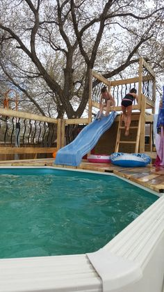 Above ground pool slide. It turned out great and the kids love it. We will be adding a water supply to the slide although it does work as long as the kids are really wet.