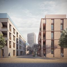 Street view of our scheme in Stratford, East London. The dwellings advance principles intended to enhance quality of life such as dual aspect, generous floor to ceiling heights and south, east or west facing balconies. Brick Architecture, Architecture Collage, Architecture Visualization, French Architecture, London View, East London, Brick Building, Building Design, Wood Facade