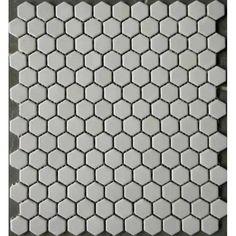 """White Hexagon Mosaic In Shower Matte Porcelain Glaze Tile 1"""" Bathroom Floor Tiles"""