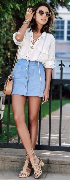#summer #ultimate #outfits |  White Lace Up Blouse + Blue Suede