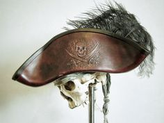 Hey, I found this really awesome Etsy listing at https://www.etsy.com/listing/208468556/ruby-port-red-leather-pirate-tricorn-hat