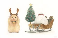 A Japanese Artist Depicts The Daily Life Of His Hamster, And It's Adorable # Pets desenho Watercolor Pictures, Watercolor Animals, Cute Animal Drawings, Cute Drawings, Horse Drawings, Japanese Hamster, Die Dinos Baby, Hamster Life, Art Mignon