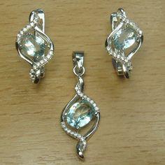 Oval Cut Aqua Blue White CZ 925 Sterling Silver Jewelry Set