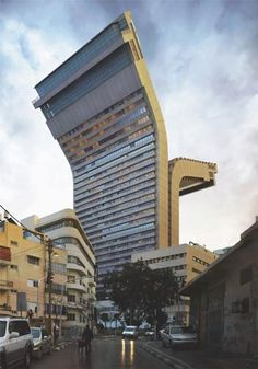 Unique buildings designed by Spanish artist and photographer Victor Enrich. Realistic renderings of upside down buildings and other eye-catching structures were inserted into the photos of the real world locations. Unusual Buildings, Interesting Buildings, Amazing Buildings, Modern Buildings, 3d Building, Building Design, Multi Story Building, Architecture Unique, Building Architecture