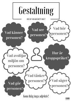 Gestaltning – Poster by Annika Sjödahl Writing Advice, Blog Writing, Writing Skills, Creative Writing, Mind Maping, Swedish Quotes, Learn Swedish, English Adjectives, Swedish Language