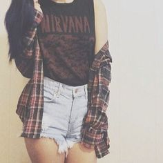 Follow BubblegumGraffiti on Wanelo for more items like this Mystery Hipster Grunge Outfit: High Waisted Shorts & Flannel Shirt & Tee-, click on the BubblegumGraffiti avatar for more collections or visit http://wanelo.com/bubblegumgraffiti