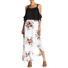 Haute Rogue Floral Tulip Wrap Maxi Skirt ($43) ❤ liked on Polyvore featuring skirts, white, white floral maxi skirt, floral maxi skirt, maxi skirt, long white skirt and white skirt