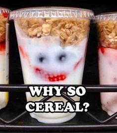"Joker yogurt - Funny yogurt with the face of Joker from The Dark Knight Batman movies: ""Why so cereal? American Dad, Jocker Batman, Der Joker, 4 Panel Life, Haha, Behind Blue Eyes, Funny Commercials, Heath Ledger, It Goes On"