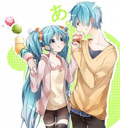 Vocaloid Miku and Mikuo