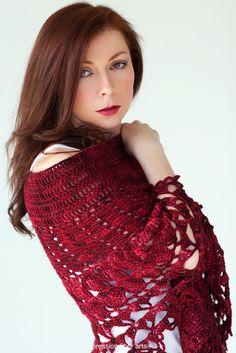 Expresné Umenie vlákna   Pozitívne Twist na priadze - Red Velvet Rose Wrap - háčkovanie Pattern