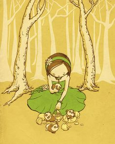 Girl with Panda Eggs 8 x 10 Print by meowza on Etsy, $15.00